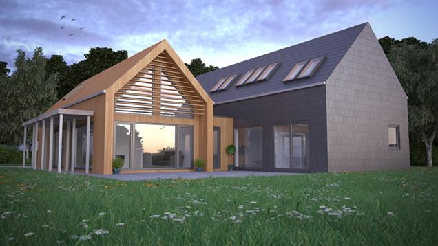 Modern style Eco Home in CGI background